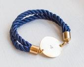 rope bracelet Nautical  blue navy bracelet  Personalized Bracelet jewelry initial bracelet bridal wedding bridesmaid silk cord bracelet knot