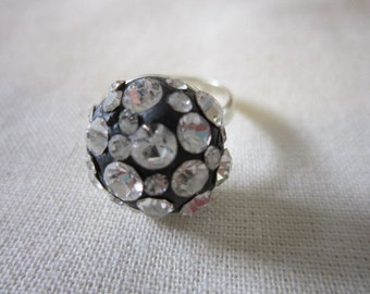 Crystal clay sparkle ring, adjustable one size fits all