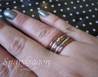 Sterling silver or copper hammered stack rings