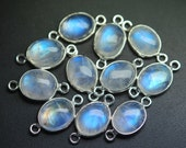 925 Sterling Silver,RAINBOW MOONSTONE Smooth Oval Shape Connector,20 Piece 17mm approx