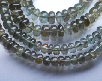13 Inch,SUPERB-FINEST Quality,Green Moss Aquamarine Smooth Polished Rondells 5-7mm