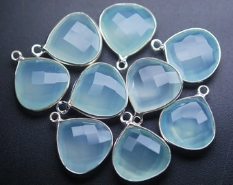 925 Sterling Silver Aqua Chalcedony Faceted Heart Shape Pendant,4 Piece of 18mm
