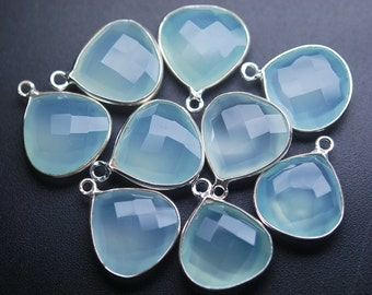 925 Sterling Silver Aqua Chalcedony Faceted Heart Shape Pendant,10 Piece of 19mm