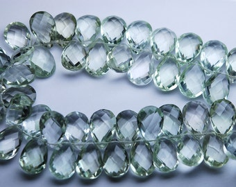 7 Inch Strand,Finest Quality,Matched Pair 8x12mm Size,Green Amethyst Faceted Pear Shaped Briolettes