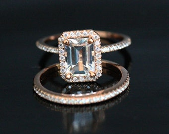14k Rose Gold 8x6mm White Topaz Emerald Cut Engagement Ring and Diamonds Wedding Band set (Choose color and size options at checkout)