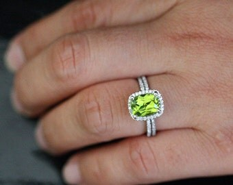 Cushion Peridot Diamond Halo Engagement Ring August Birthstone ring in 14k White Gold with Peridot Cushion 7mm and Diamonds Wedding Ring Set