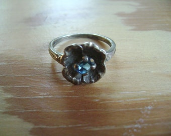 vintage sterling flower ring size 6 and 1/4