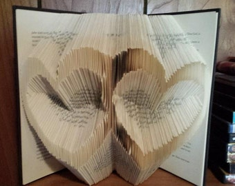 Folded Book Art - Double Heart - Made to Order