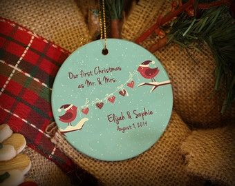 Customizable Christmas Ornament: 2 Red Birds with Hearts Garland