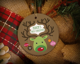 Customizable Christmas Ornament: Whimsical Reindeer