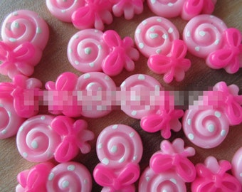 20pcs DIY Polka Dot Lollipop resin flat back cabochon