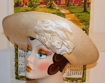 Vintage 1960's MOD Fancy Straw Hat // Cream Rose Woven Straw Fashion Hat Georgi