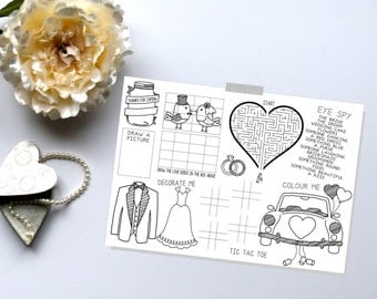 Kids Wedding Favors. Wedding Activity Book. Wedding Activity Placemat. Instant Download.