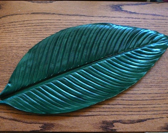 "Spathiphyllum (Peace Lily) 21"" Cement/Concrete Leaf Casting - Wall Hanging or Table Centerpiece"