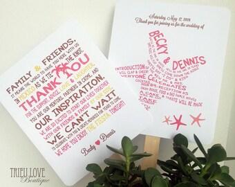Starfish | Seaside | Beachside Wedding Ceremony Program Fan - Fully Customizable Wording & Ready-to-DIY Kit (QTY 30+)