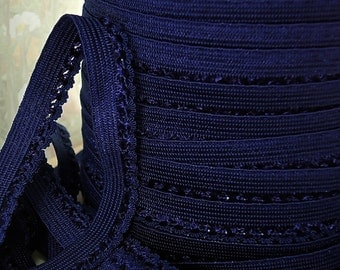 "5yd Elastic Trim 3/8"" Dark Blue Lace Skinny Picot Trim Rick Rack Scallop single edge for Headband Sewing lingerie Elastic Bands Underwear"