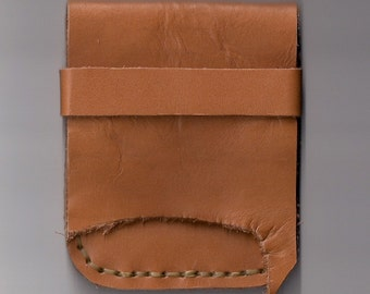 Handmade Hand Sewn Tan Leather Cell Phone Belt Case with Natural Edge by Heidi Clauson