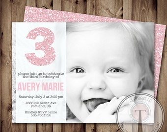 Girl Birthday Invitation, Glitter Birthday Invitation, sparkle birthday, any age, girls birthday invite (Printable Birthday Invitation)