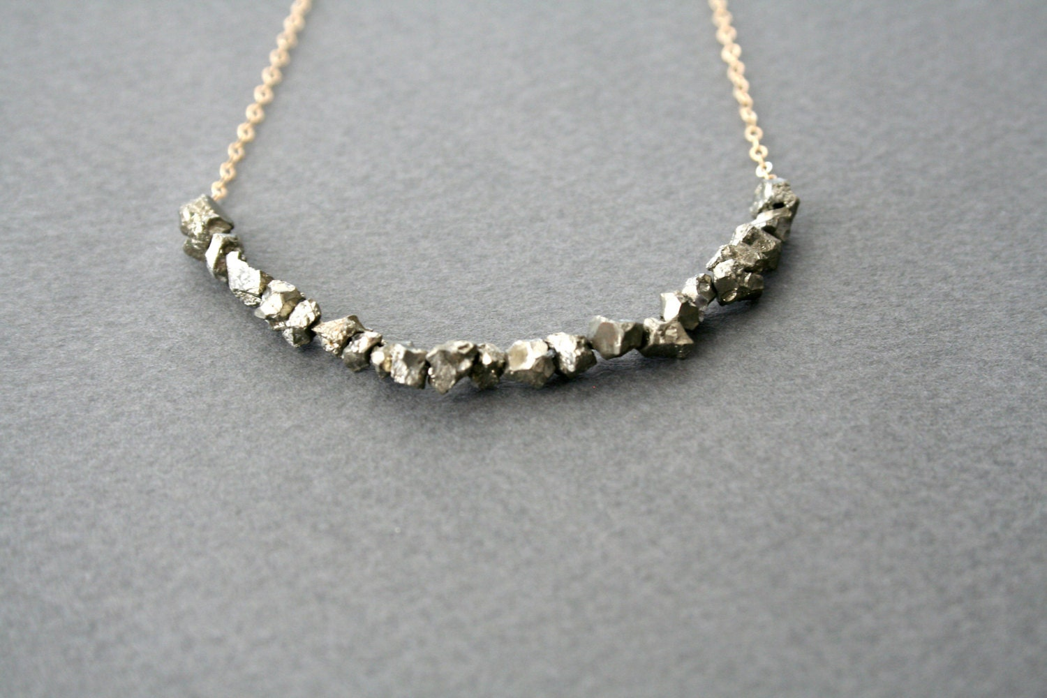 gold pyrite necklace pyrites on gold by studiogoods