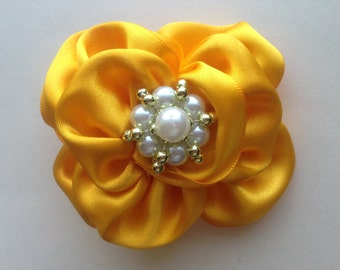 Canary Yellow Satin Ruffle Flower Bow/ Hair Bow/ Hair Clip