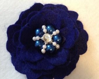 Blue Felt Flower Clip/ Hair Clip/ Hair Bow