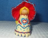 Scandinavian Inspired Bonnet Girl, Eco-Friendly, Waldorf Inspired,Wool and Wood Peg People, Dollhouse Doll, Nature Table