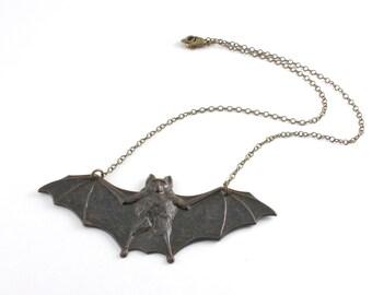 Black Bat Necklace, Vampire Bat Pendant, Large Antiqued Brass Steampunk Gothic Victorian Necklace