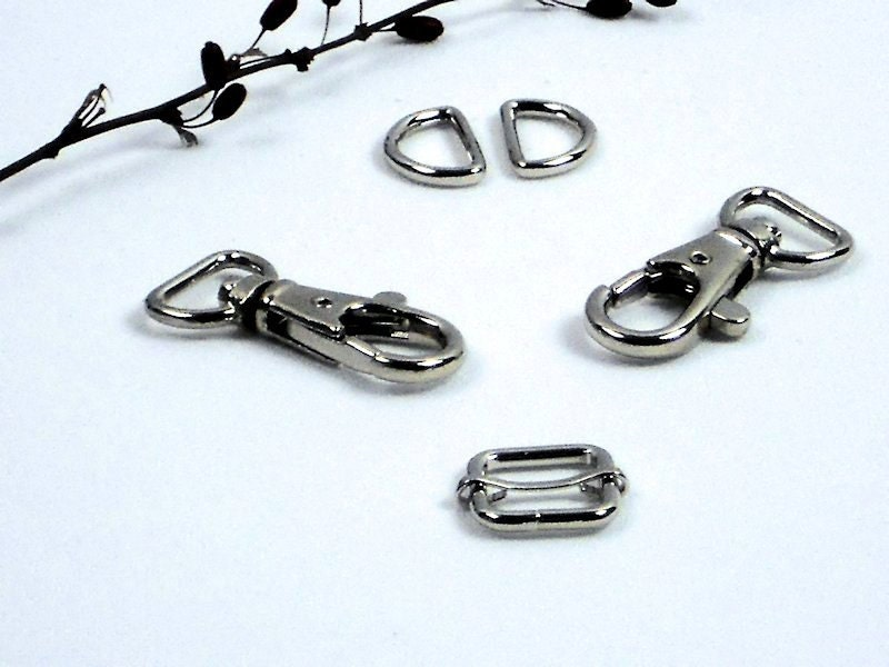 Quot silver pc purse hardware set half inch d rings