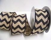 Burlap Ribbon, Black Chevron Ribbon,Rustic Wedding Decor, 5 yards,