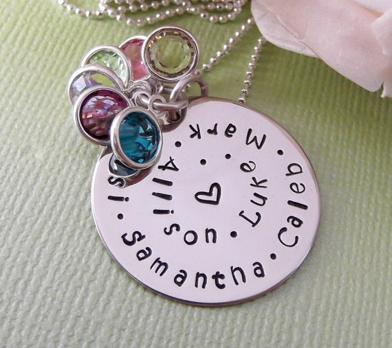 Hand Stamped Grandmother Necklace- 6 Name Necklace- Mommy Jewelry- Mother's Day Gift