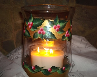 Holiday Ivy Hurricane candle holder