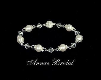"Bridal jewelry, wedding, White pearl and crystal bracelet, Swarovski, silver ""Posh Princess"" bracelet"