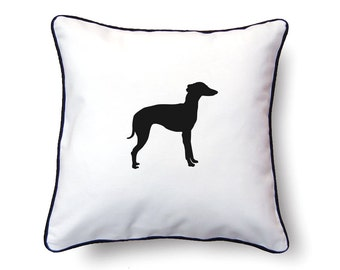 Whippet Pillow 18x18 - Whippet Silhouette Pillow - Personalized Name or Text Optional