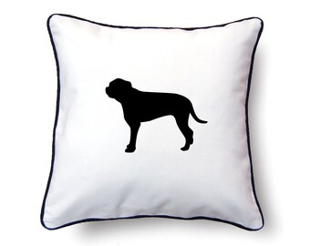 BullMastiff Pillow 18x18 - BullMastiff Silhouette Pillow - Personalized Name or Text Optional