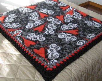 St. Valentine's Day/Hearts Fleece Blanket With Crochet Border-Free Standard Shipping