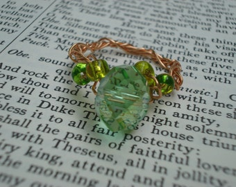 Wrapped Copper Wire Ring with Green Glass Beads
