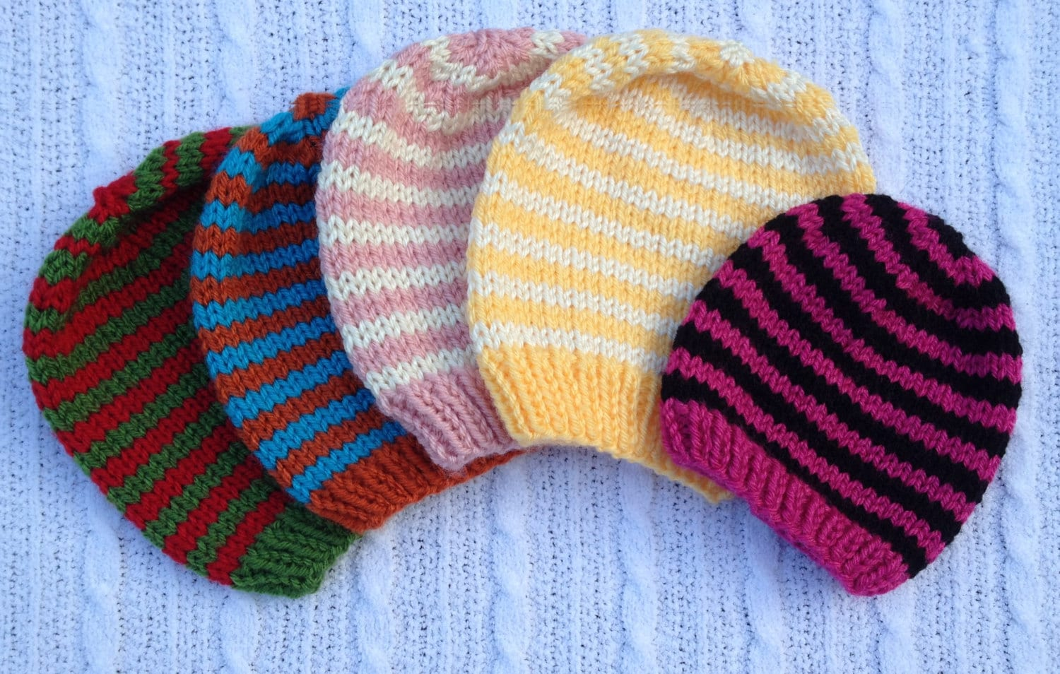 Newborn Beanie Knitting Pattern : PDF knitting pattern Basic simple baby beanie hat