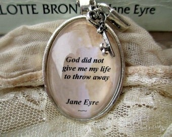Jane Eyre quote necklace, Charlotte Bronte quote jewellery