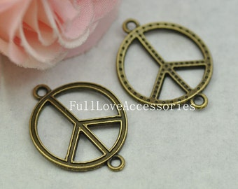 10pcs 21x29mm Antique Bronze Peace Charm Connector, Peace Sign Connector, Peace Pendants, Peace Symbol, Peace Beads