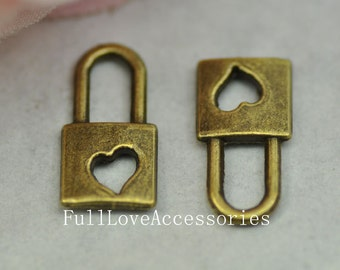 20pcs 8x15mm Antique Bronze Lock Charms - Small Key Lock Heart Key Lock Charms Connector