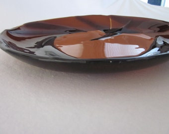 Chocolate and caramel bowl, round brown bowl, round caramel bowl, firm glass fused bowl, handmade