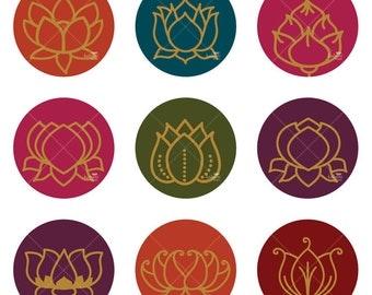 Golden Lotus Ornaments - Printable Digital Sheet
