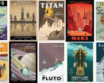 Space travel postcard set of 10