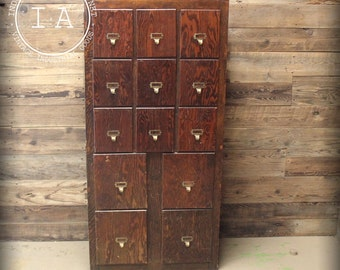 Vintage Oak 13 Drawer Card Catalog Style Cabinet