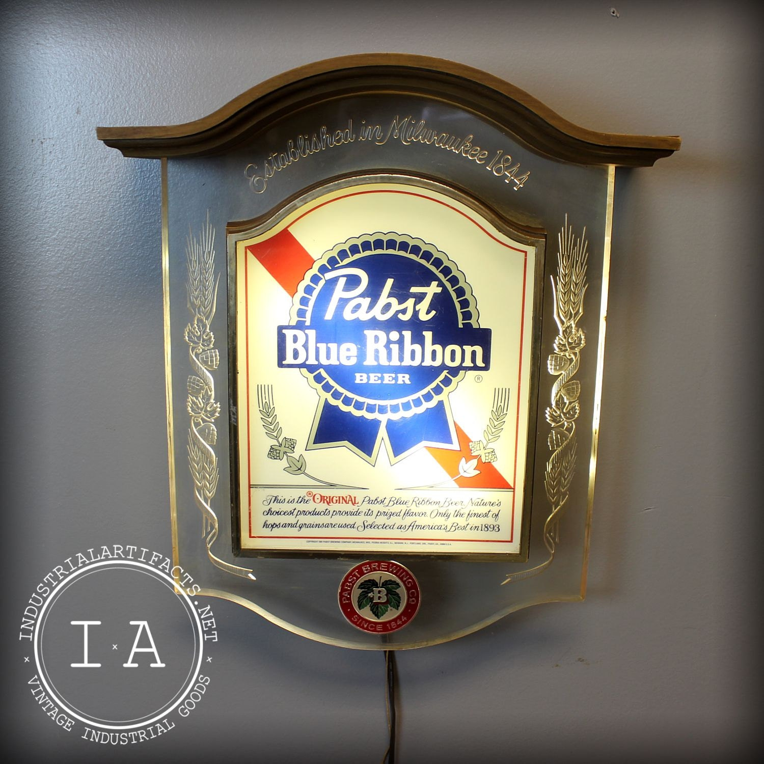 Vintage Pabst Blue Ribbon Wall Art Display By