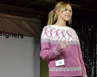 """PDF Knitting Pattern Lopapeysa Women's Sweater """"Running Hares"""" 100% Icelandic Lett Lopi Wool"""