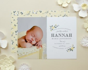 Floral Birth Announcement, Baby Girl Announcement with Flowers, Photo Announcements for New Baby - Charming Florals