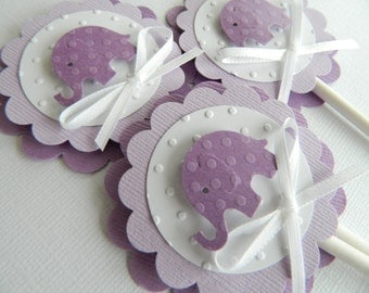 24 Elephant Cupcake Toppers, Baby Shower Cupcake Toppers, Baby Girl Cupcake Toppers, Purple Cupcake Toppers, Purple Baby Shower Decorations