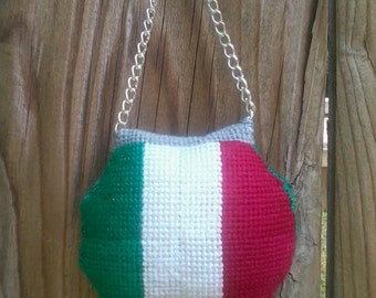 Needlepoint Italian flag Purse  Ornaments
