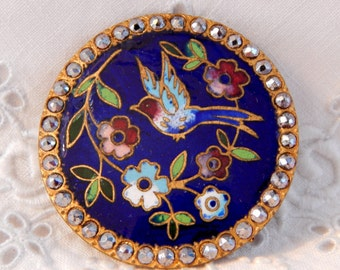 Blue Bird with Branch of Flowers Champleve Enamel Button